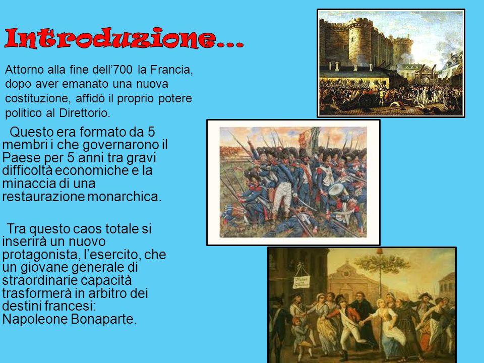 Attorno alla fine dell700 la Francia, dopo aver emanato una nuova costituzione, affidò il proprio potere politico al Direttorio. Questo era formato da