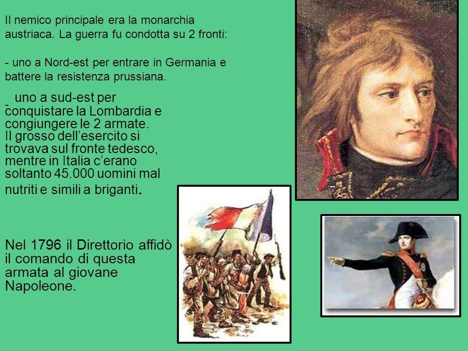 Il nemico principale era la monarchia austriaca. La guerra fu condotta su 2 fronti: - uno a Nord-est per entrare in Germania e battere la resistenza p