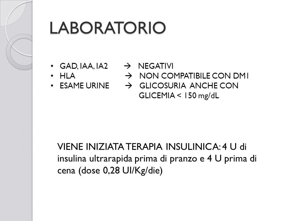 LABORATORIO GAD, IAA, IA2 NEGATIVI HLA NON COMPATIBILE CON DM1 ESAME URINE GLICOSURIA ANCHE CON GLICEMIA < 150 mg/dL VIENE INIZIATA TERAPIA INSULINICA