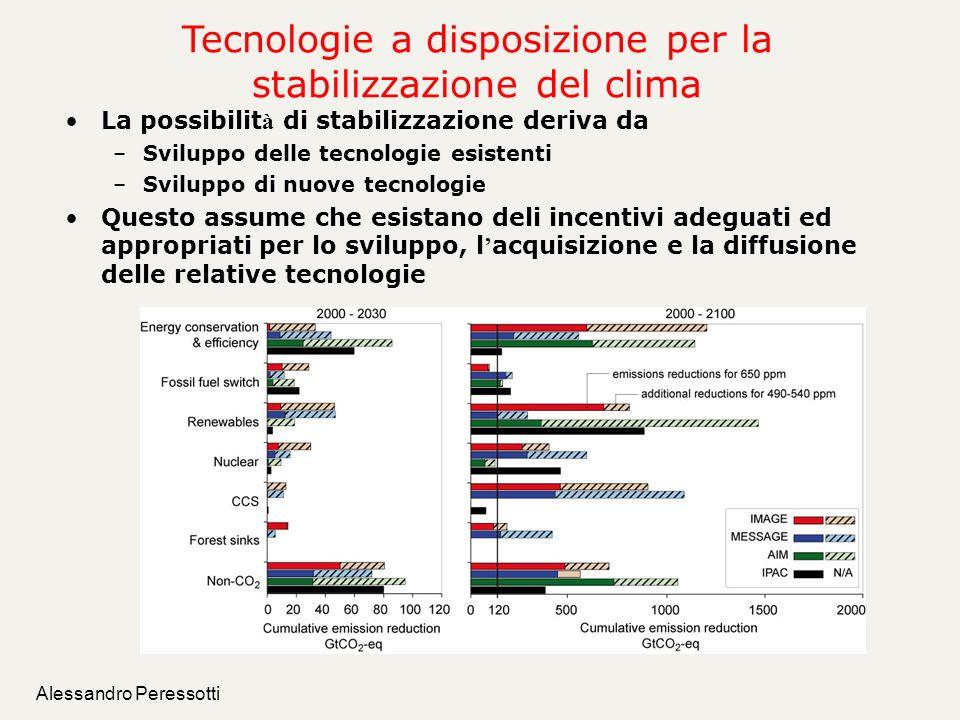 Alessandro Peressotti Tecnologie a disposizione per la stabilizzazione del clima La possibilit à di stabilizzazione deriva da –Sviluppo delle tecnolog