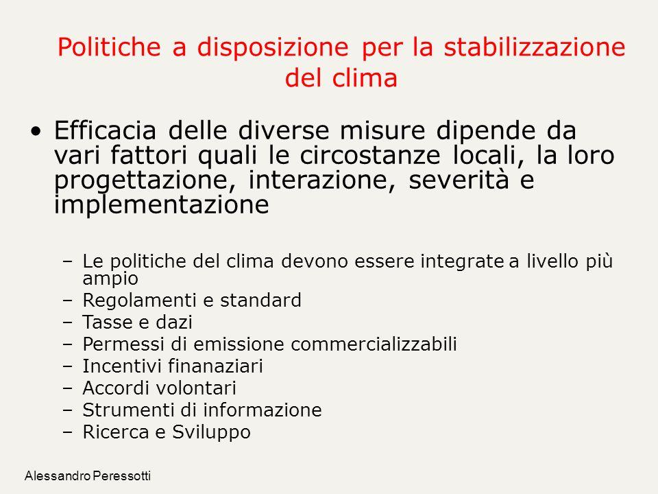 Alessandro Peressotti Politiche a disposizione per la stabilizzazione del clima Efficacia delle diverse misure dipende da vari fattori quali le circos