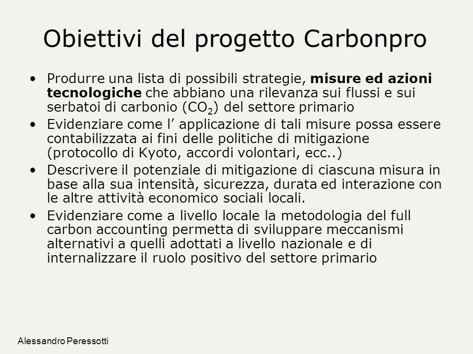 Alessandro Peressotti Obiettivi del progetto Carbonpro Produrre una lista di possibili strategie, misure ed azioni tecnologiche che abbiano una rileva
