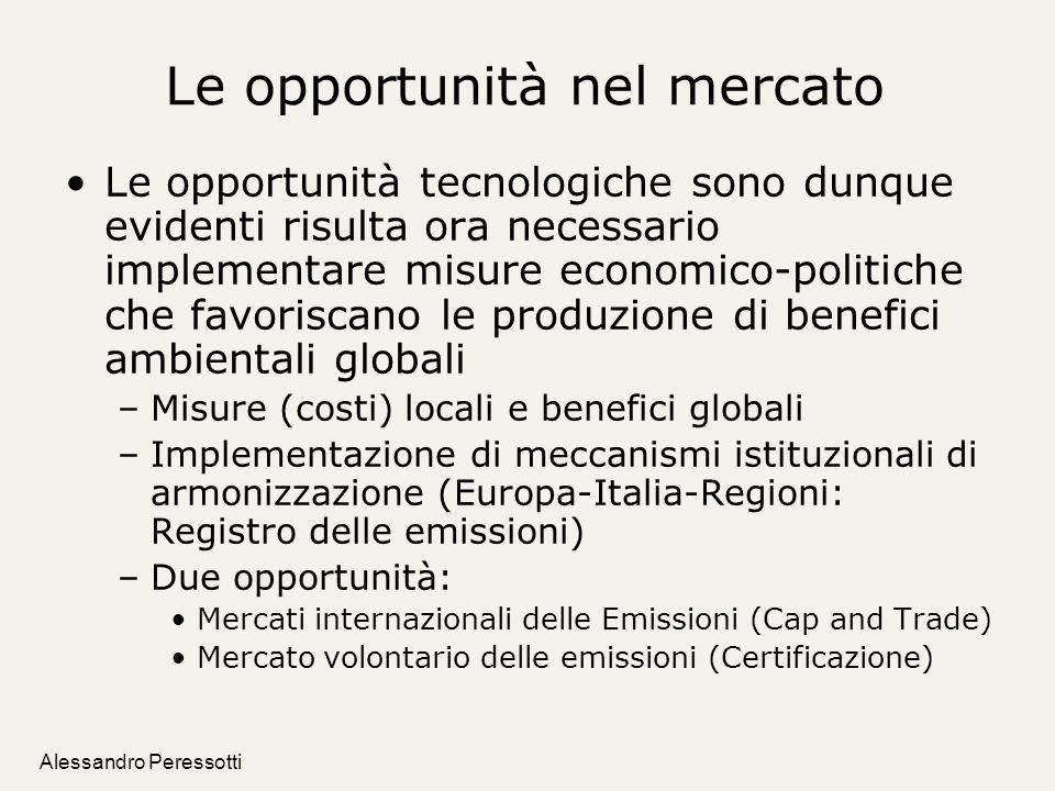 Alessandro Peressotti Le opportunità nel mercato Le opportunità tecnologiche sono dunque evidenti risulta ora necessario implementare misure economico