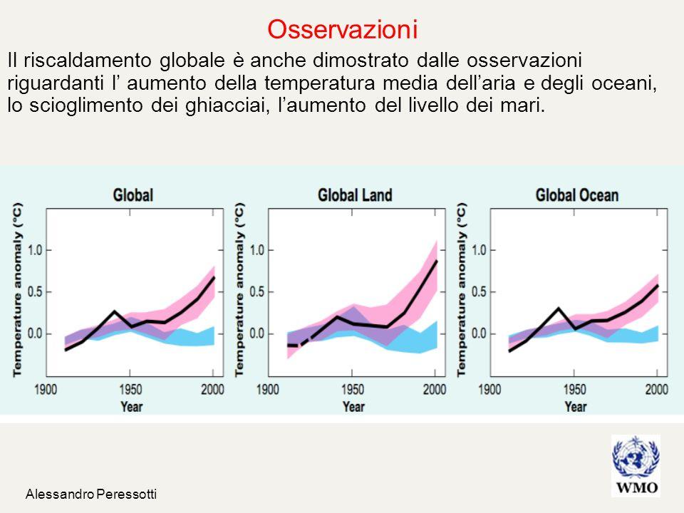 Alessandro Peressotti Il riscaldamento globale è anche dimostrato dalle osservazioni riguardanti l aumento della temperatura media dellaria e degli oc