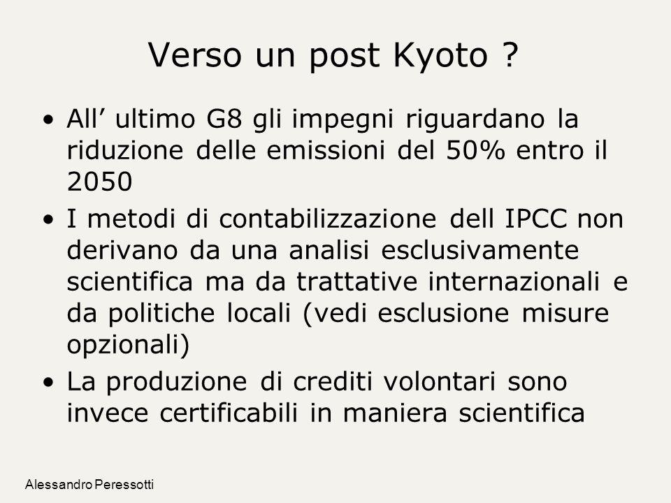 Alessandro Peressotti Verso un post Kyoto ? All ultimo G8 gli impegni riguardano la riduzione delle emissioni del 50% entro il 2050 I metodi di contab