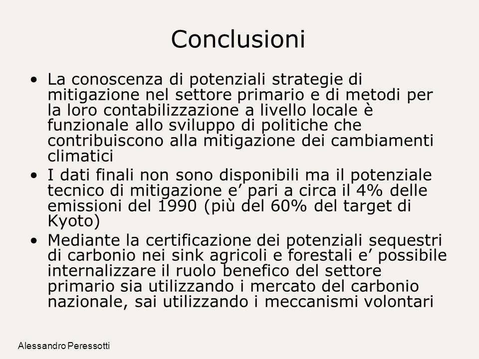 Alessandro Peressotti Conclusioni La conoscenza di potenziali strategie di mitigazione nel settore primario e di metodi per la loro contabilizzazione