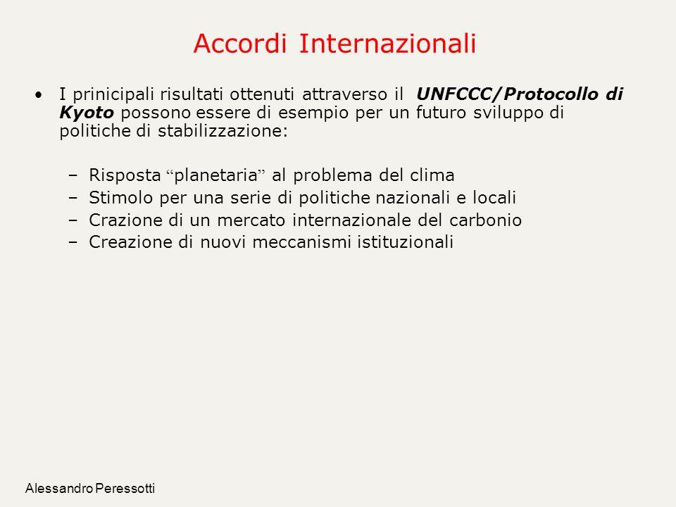 Alessandro Peressotti Accordi Internazionali I prinicipali risultati ottenuti attraverso il UNFCCC/Protocollo di Kyoto possono essere di esempio per u