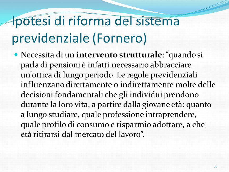 Ipotesi di riforma del sistema previdenziale (Fornero) Necessità di un intervento strutturale: quando si parla di pensioni è infatti necessario abbrac
