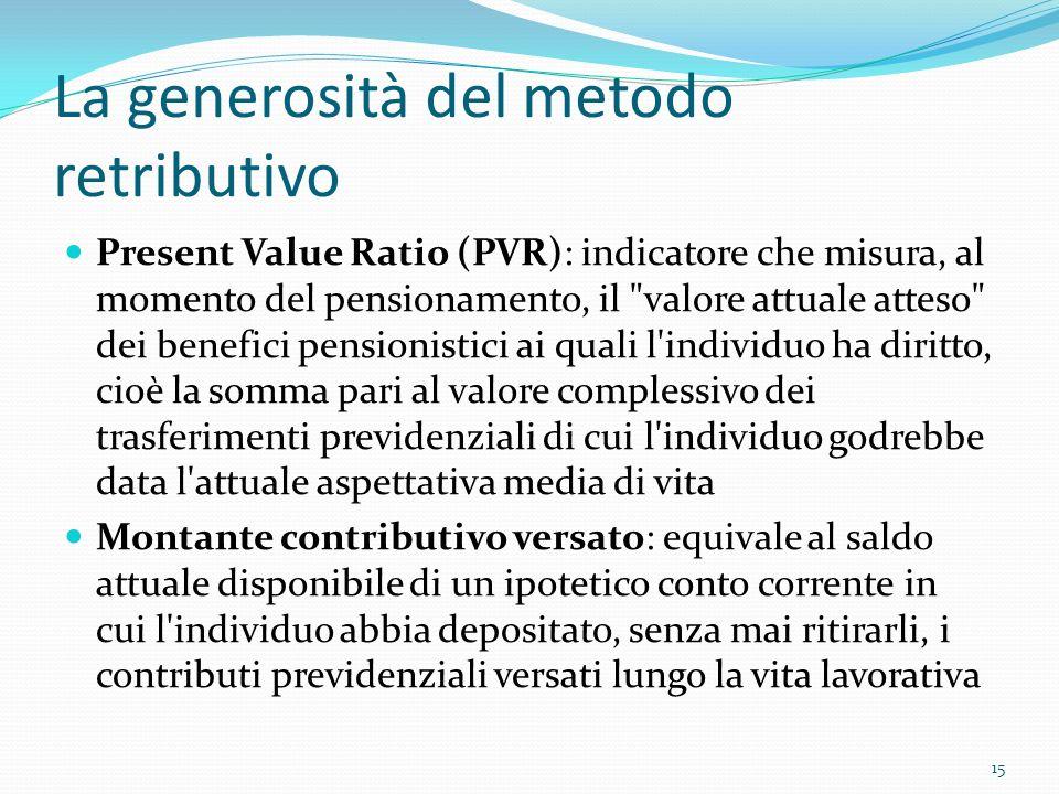 La generosità del metodo retributivo Present Value Ratio (PVR): indicatore che misura, al momento del pensionamento, il