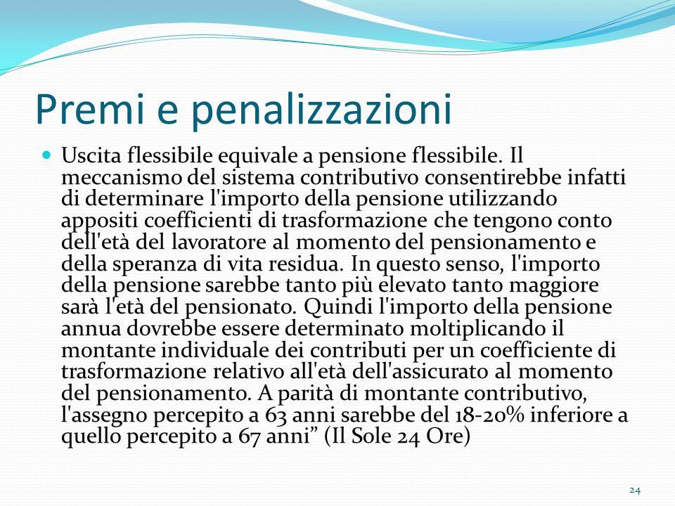 Premi e penalizzazioni Uscita flessibile equivale a pensione flessibile. Il meccanismo del sistema contributivo consentirebbe infatti di determinare l