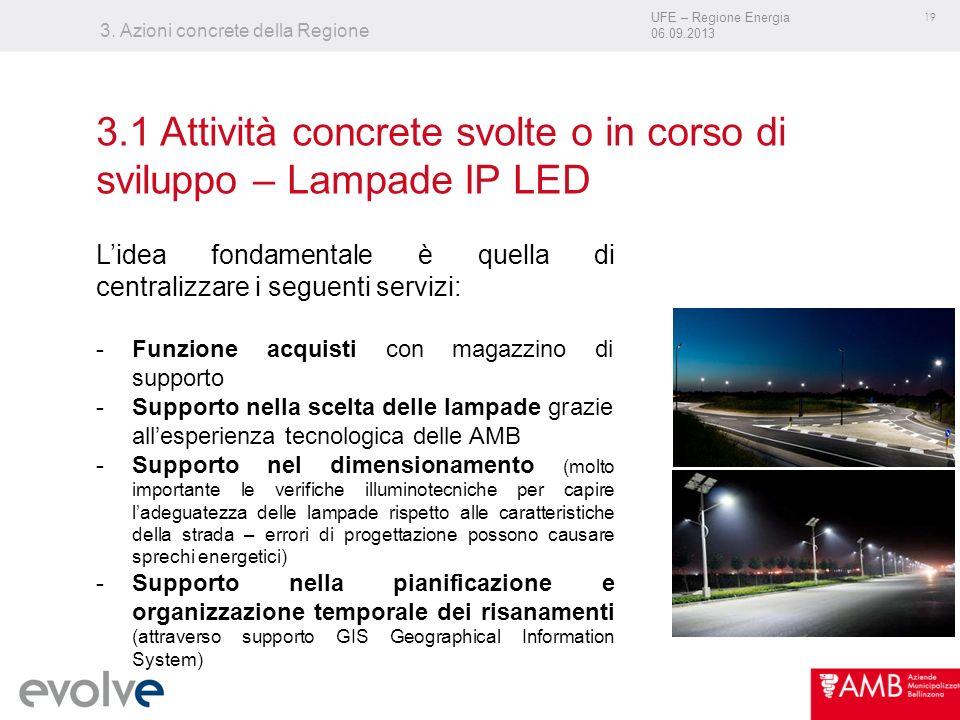 UFE – Regione Energia 06.09.2013 19 3. Azioni concrete della Regione Lidea fondamentale è quella di centralizzare i seguenti servizi: -Funzione acquis