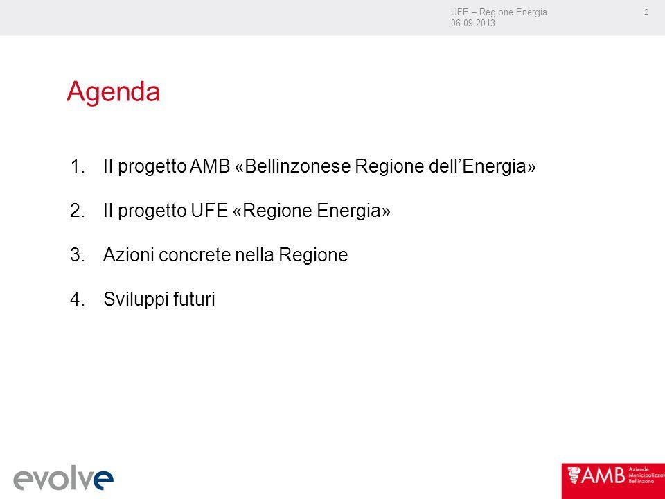 UFE – Regione Energia 06.09.2013 2 Agenda 1.Il progetto AMB «Bellinzonese Regione dellEnergia» 2.Il progetto UFE «Regione Energia» 3.Azioni concrete nella Regione 4.Sviluppi futuri