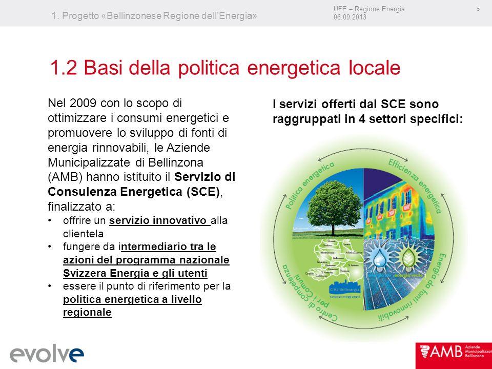 UFE – Regione Energia 06.09.2013 5 1. Progetto «Bellinzonese Regione dellEnergia» 1.2 Basi della politica energetica locale Nel 2009 con lo scopo di o