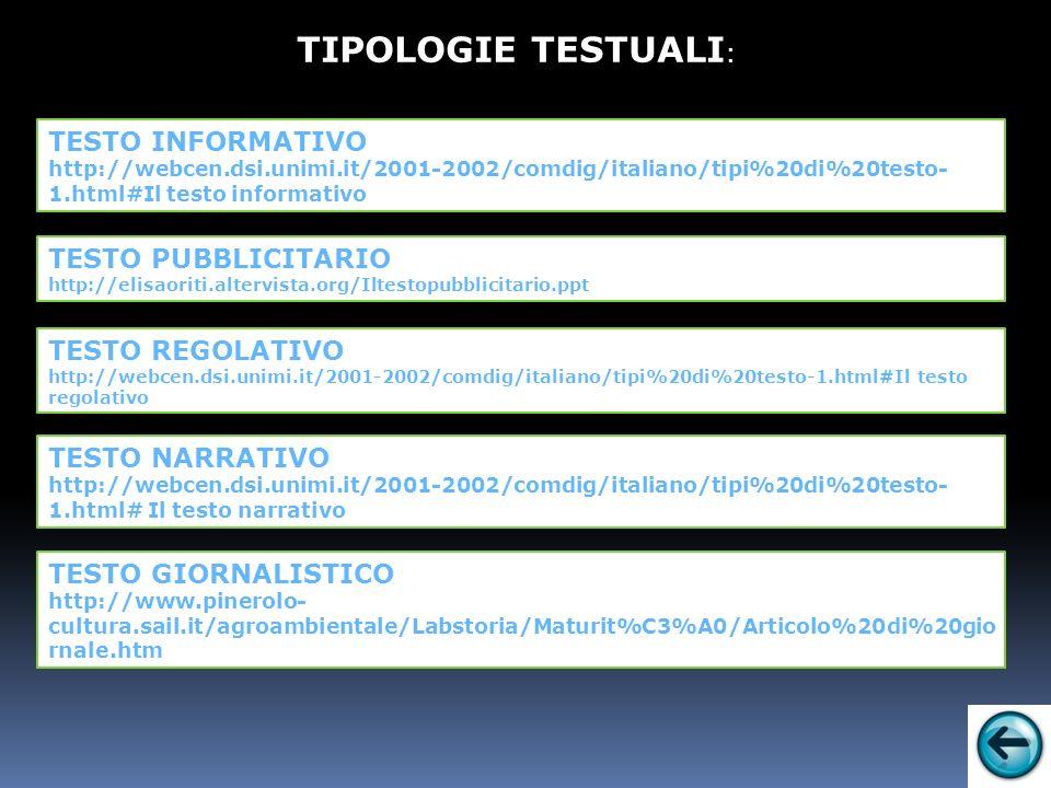 TESTO INFORMATIVO http://webcen.dsi.unimi.it/2001-2002/comdig/italiano/tipi%20di%20testo- 1.html#Il testo informativo TIPOLOGIE TESTUALI : TESTO REGOLATIVO http://webcen.dsi.unimi.it/2001-2002/comdig/italiano/tipi%20di%20testo-1.html#Il testo regolativo TESTO PUBBLICITARIO http://elisaoriti.altervista.org/Iltestopubblicitario.ppt TESTO NARRATIVO http://webcen.dsi.unimi.it/2001-2002/comdig/italiano/tipi%20di%20testo- 1.html# Il testo narrativo TESTO GIORNALISTICO http://www.pinerolo- cultura.sail.it/agroambientale/Labstoria/Maturit%C3%A0/Articolo%20di%20gio rnale.htm