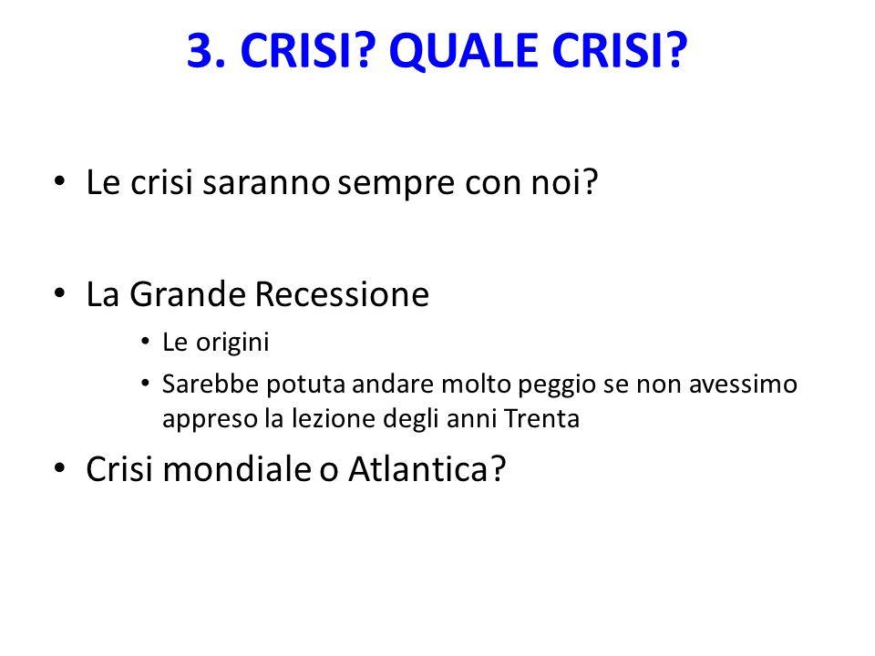 3. CRISI. QUALE CRISI. Le crisi saranno sempre con noi.