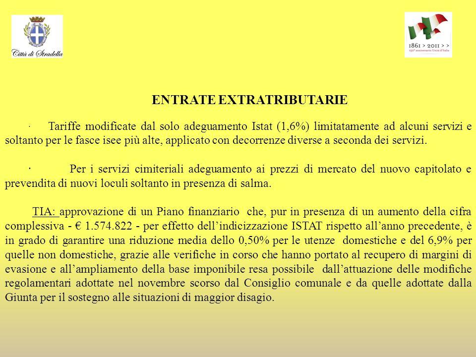 ENTRATE EXTRATRIBUTARIE · Tariffe modificate dal solo adeguamento Istat (1,6%) limitatamente ad alcuni servizi e soltanto per le fasce isee più alte, applicato con decorrenze diverse a seconda dei servizi.