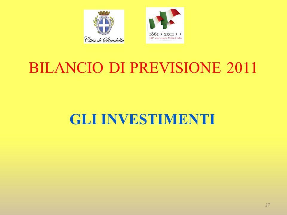 BILANCIO DI PREVISIONE 2011 GLI INVESTIMENTI 17