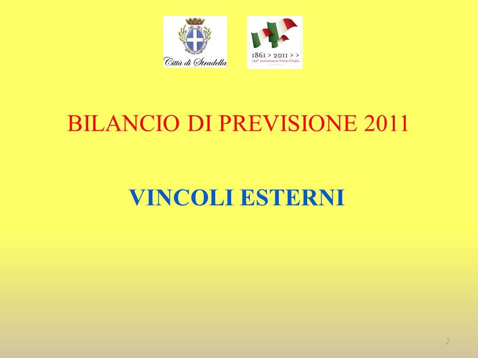BILANCIO DI PREVISIONE 2011 VINCOLI ESTERNI 2