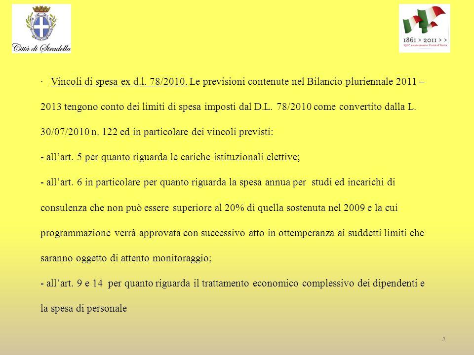 · Vincoli di spesa ex d.l. 78/2010.