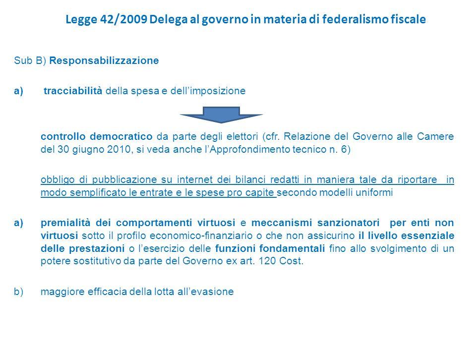 Legge 42/2009 Delega al governo in materia di federalismo fiscale Sub B) Responsabilizzazione a) tracciabilità della spesa e dellimposizione controllo democratico da parte degli elettori (cfr.
