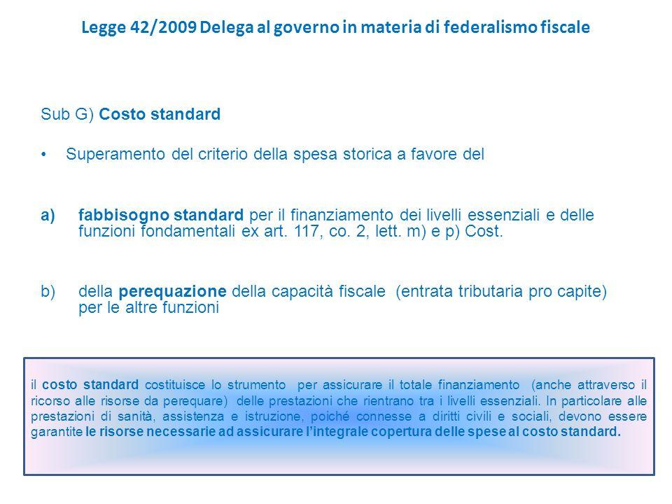 Legge 42/2009 Delega al governo in materia di federalismo fiscale Sub G) Costo standard Superamento del criterio della spesa storica a favore del a)fabbisogno standard per il finanziamento dei livelli essenziali e delle funzioni fondamentali ex art.