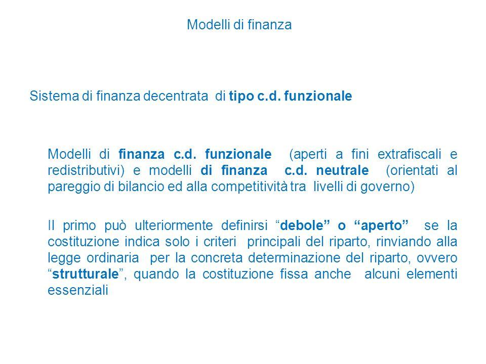 Modelli di finanza Sistema di finanza decentrata di tipo c.d.