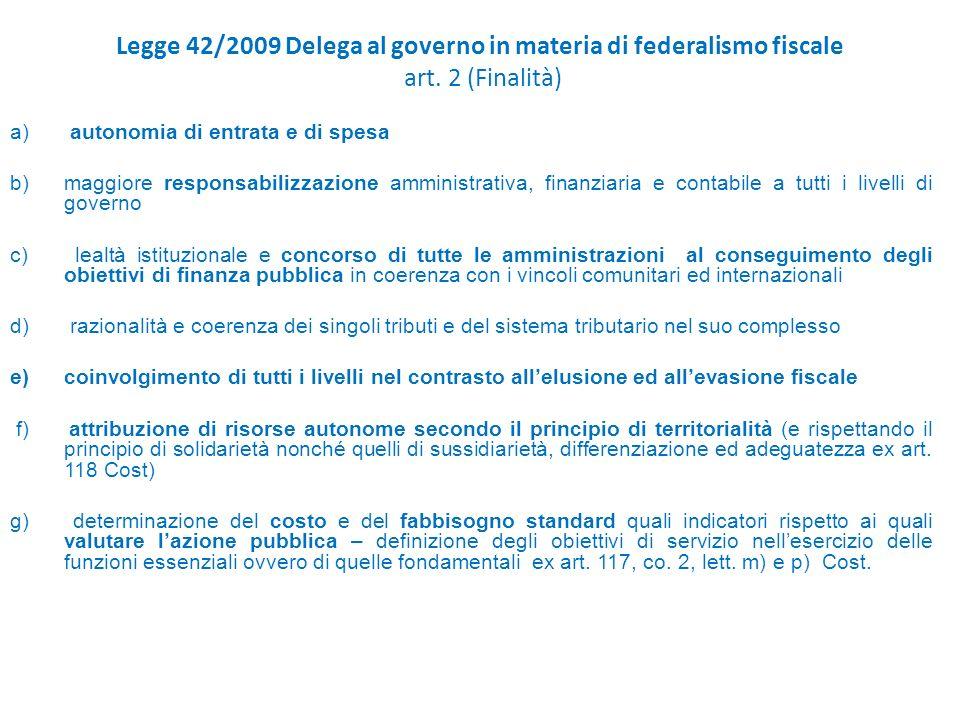 Legge 42/2009 Delega al governo in materia di federalismo fiscale art.