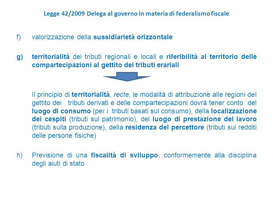 Legge 42/2009 Delega al governo in materia di federalismo fiscale f)valorizzazione della sussidiarietà orizzontale g)territorialità dei tributi regionali e locali e riferibilità al territorio delle compartecipazioni al gettito dei tributi erariali Il principio di territorialità, recte, le modalità di attribuzione alle regioni del gettito dei tributi derivati e delle compartecipazioni dovrà tener conto del luogo di consumo (per i tributi basati sul consumo), della localizzazione dei cespiti (tributi sul patrimonio), del luogo di prestazione del lavoro (tributi sulla produzione), della residenza del percettore (tributi sui redditi delle persone fisiche) h)Previsione di una fiscalità di sviluppo, conformemente alla disciplina degli aiuti di stato