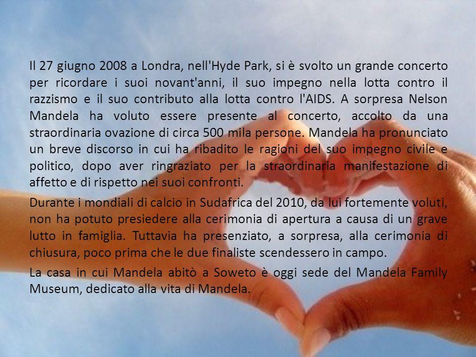 Il 27 giugno 2008 a Londra, nell'Hyde Park, si è svolto un grande concerto per ricordare i suoi novant'anni, il suo impegno nella lotta contro il razz