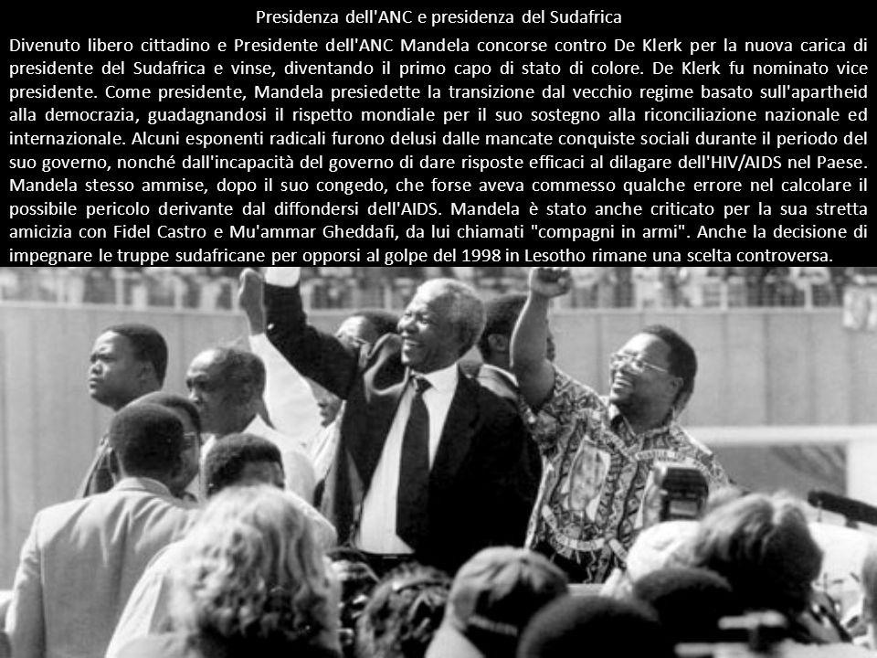 Presidenza dell'ANC e presidenza del Sudafrica Divenuto libero cittadino e Presidente dell'ANC Mandela concorse contro De Klerk per la nuova carica di