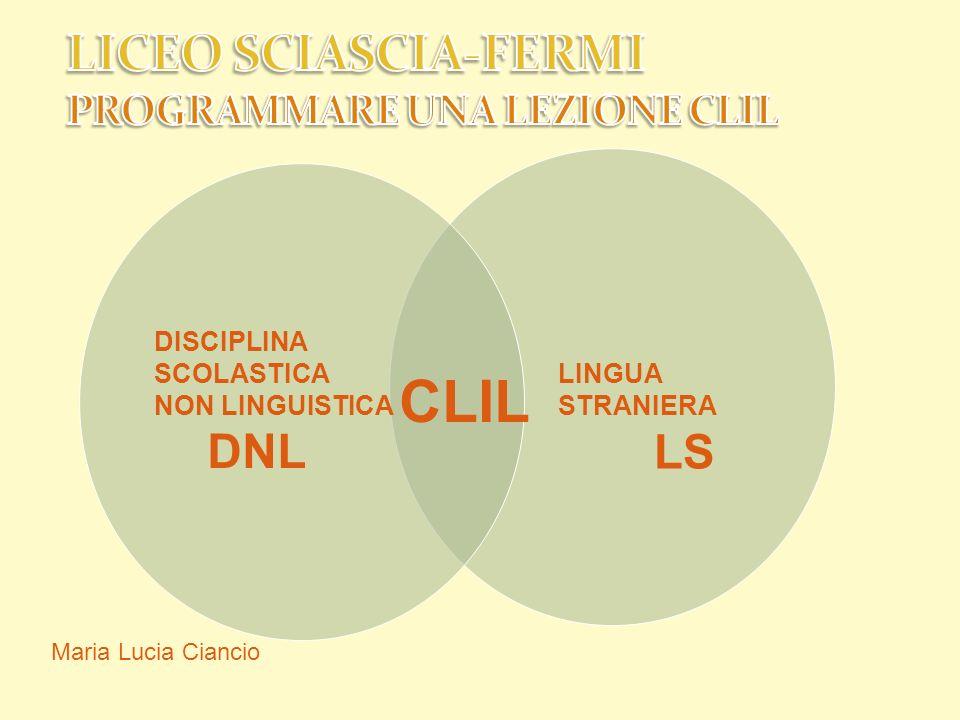 Maria Lucia Ciancio DISCIPLINA SCOLASTICA NON LINGUISTICA DNL CLIL LINGUA STRANIERA LS