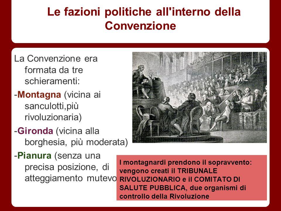 Le fazioni politiche all'interno della Convenzione La Convenzione era formata da tre schieramenti: -Montagna (vicina ai sanculotti,più rivoluzionaria)