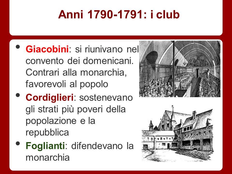 Anni 1790-1791: i club Giacobini: si riunivano nel convento dei domenicani. Contrari alla monarchia, favorevoli al popolo Cordiglieri: sostenevano gli