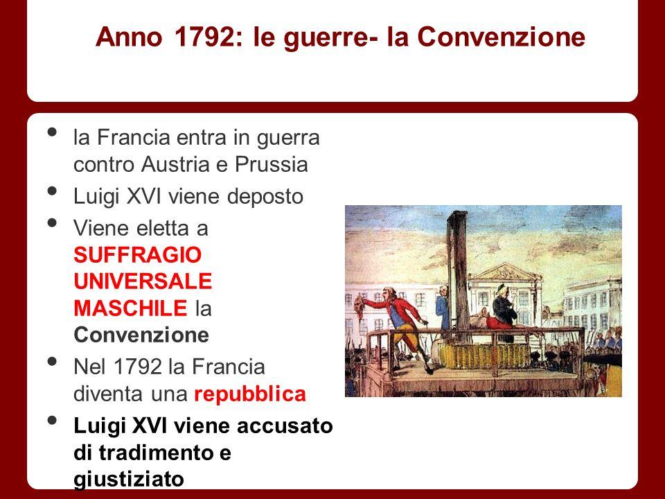 Anno 1792: le guerre- la Convenzione la Francia entra in guerra contro Austria e Prussia Luigi XVI viene deposto Viene eletta a SUFFRAGIO UNIVERSALE M
