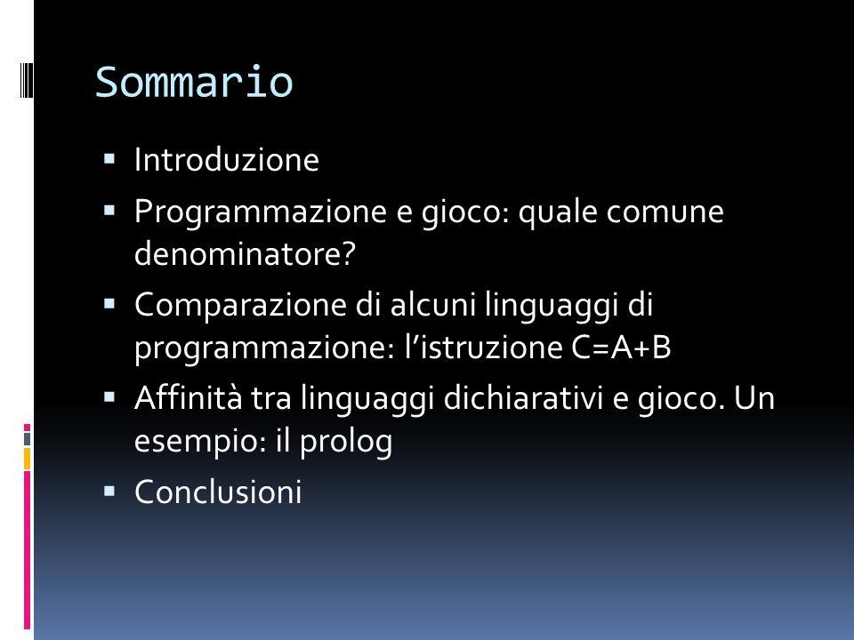 Sommario Introduzione Programmazione e gioco: quale comune denominatore.