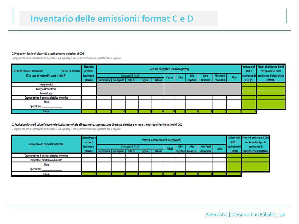 AzzeroCO 2 | Divisione Enti Pubblici | 26 AzzeroCO 2 | Divisione Enti Pubblici | 26 Inventario delle emissioni: format C e D