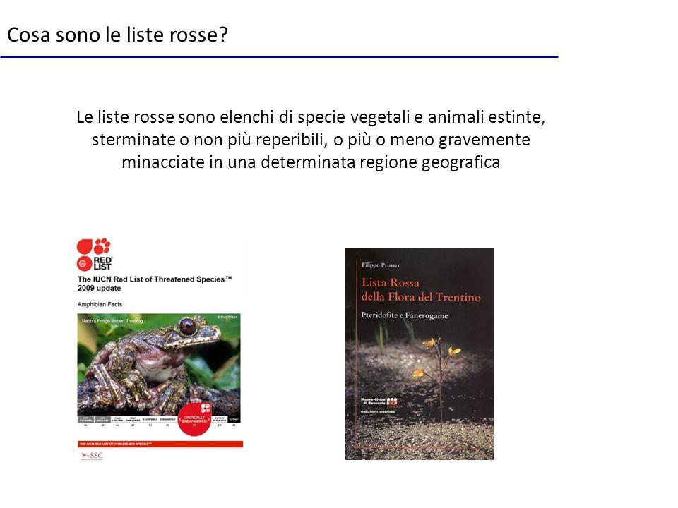 Cosa sono le liste rosse? Le liste rosse sono elenchi di specie vegetali e animali estinte, sterminate o non più reperibili, o più o meno gravemente m