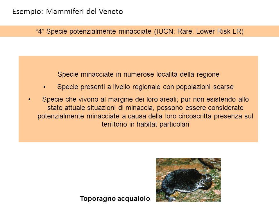 4 Specie potenzialmente minacciate (IUCN: Rare, Lower Risk LR) Specie minacciate in numerose località della regione Specie presenti a livello regional