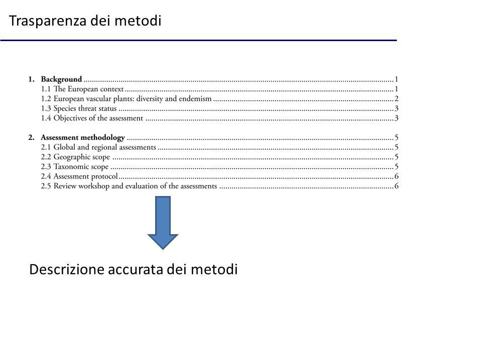 Trasparenza dei metodi Descrizione accurata dei metodi