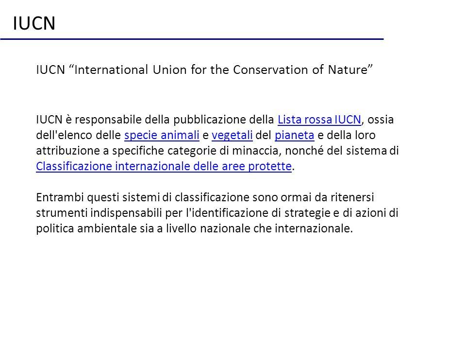 IUCN International Union for the Conservation of Nature IUCN è responsabile della pubblicazione della Lista rossa IUCN, ossia dell'elenco delle specie