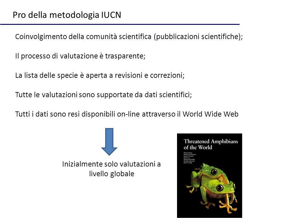 Coinvolgimento della comunità scientifica (pubblicazioni scientifiche); Il processo di valutazione è trasparente; La lista delle specie è aperta a rev