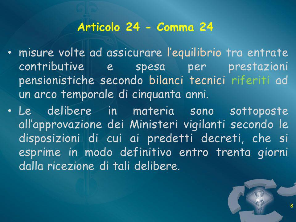 Articolo 24 - Comma 24 misure volte ad assicurare lequilibrio tra entrate contributive e spesa per prestazioni pensionistiche secondo bilanci tecnici