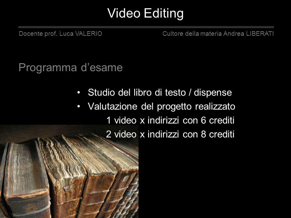 Studio del libro di testo / dispense Valutazione del progetto realizzato 1 video x indirizzi con 6 crediti 2 video x indirizzi con 8 crediti Docente p