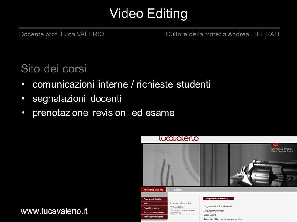 comunicazioni interne / richieste studenti segnalazioni docenti prenotazione revisioni ed esame Docente prof. Luca VALERIO Cultore della materia Andre