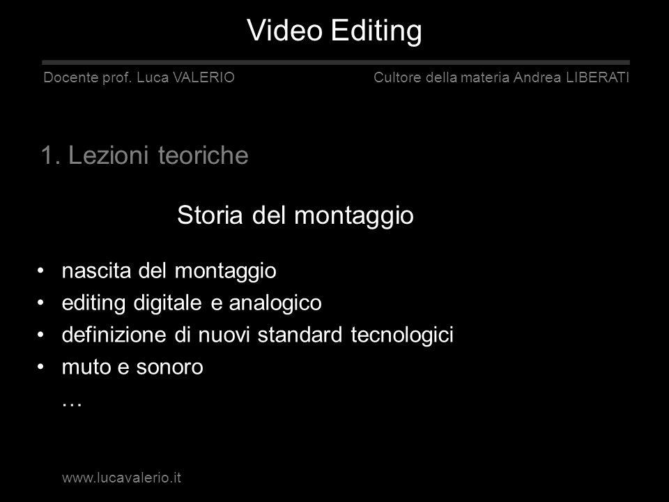 Storia del montaggio Docente prof. Luca VALERIO Cultore della materia Andrea LIBERATI 1. Lezioni teoriche nascita del montaggio editing digitale e ana