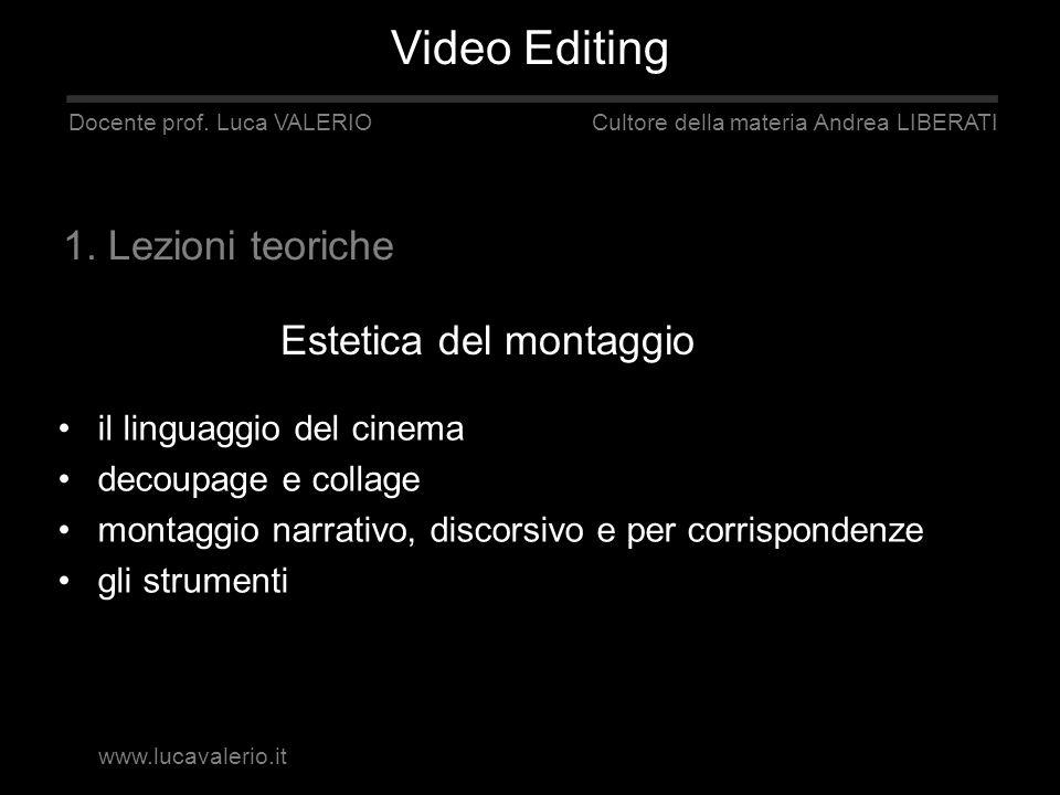 Estetica del montaggio Docente prof. Luca VALERIO Cultore della materia Andrea LIBERATI 1. Lezioni teoriche il linguaggio del cinema decoupage e colla