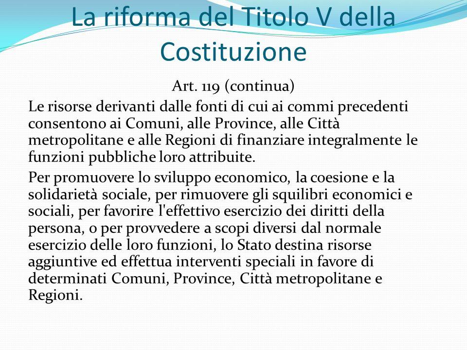 La riforma del Titolo V della Costituzione Art.