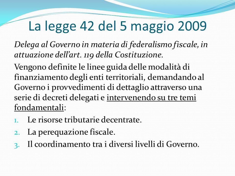 La legge 42 del 5 maggio 2009 Delega al Governo in materia di federalismo fiscale, in attuazione dellart.