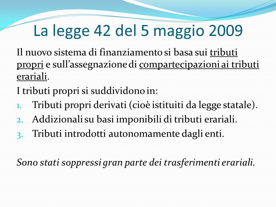 La legge 42 del 5 maggio 2009 Il nuovo sistema di finanziamento si basa sui tributi propri e sullassegnazione di compartecipazioni ai tributi erariali.