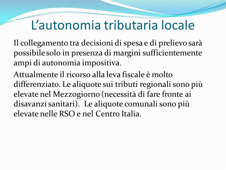 Lautonomia tributaria locale Il collegamento tra decisioni di spesa e di prelievo sarà possibile solo in presenza di margini sufficientemente ampi di autonomia impositiva.